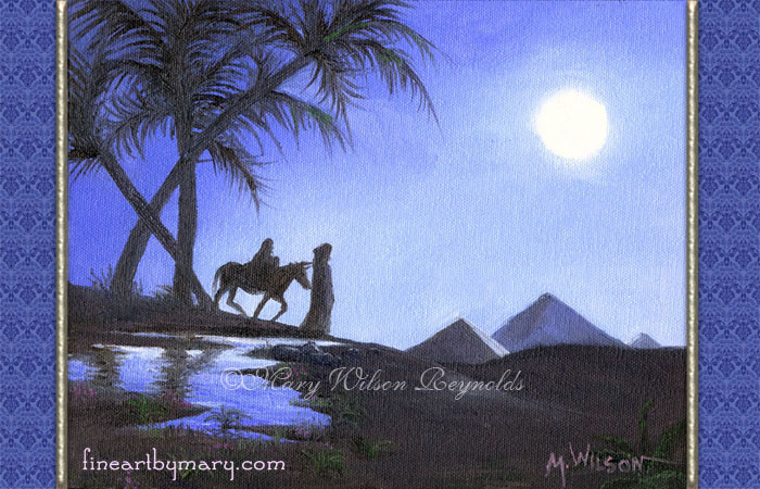 Cover of card depicting a moonlit scene of Joseph, Mary and Jesus near an oasis in Egypt with pyramids in the background.