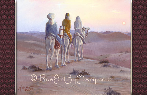 Cover of card depicting the 3 wise men ( Magi) crossing the desert on camels